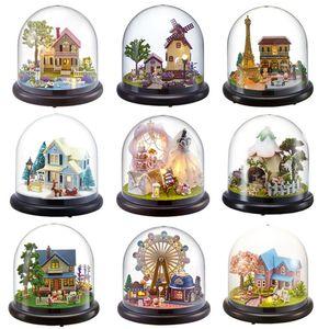 CUTEBEE casa de muñecas en miniatura de bricolaje Casa de muñecas con muebles de madera Casa juguetes para los niños regalo de cumpleaños B21 Y200317