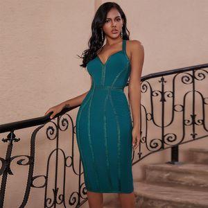 Ocstrade Yeşil Bandaj Elbise 2020 Kadınlar Moda Halter Backless Seksi Bandaj Elbise BODYCON Ünlü Akşam Kulübü Parti Elbise CX200616