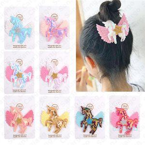 Baby Girls Cartoon Unicorn Hair Clips Bow Hairpin Colorful Barrettes Girl Hair Accessories Sequins Rainbow Kids Hair Clipper 8 Colors E5406