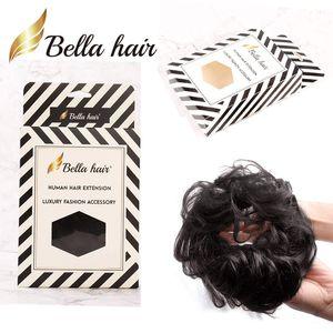 BELLAHAIR 100% HUMANO PELO HUMANO Scrunchie BUN PIA PIEZA ondulada Curly Haquillaje Pelo Extensiones de cabello Donut Chignons (# 1b # 4 # 8 # 27 # 30 # 60 # Silver Gray)