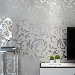 Gris del damasco del Victorian 3D en relieve del papel pintado rollo Decoración de la sala dormitorio Revestimientos de papel de pared floral de plata