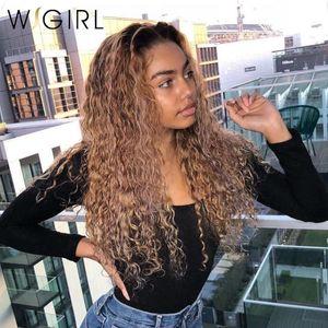 Wigirl Ombre Blonde perruque frisée 13x6 perruques de cheveux humains avant de dentelle 1b / 27 Remy Brésilien Pré plumé pour les femmes noires