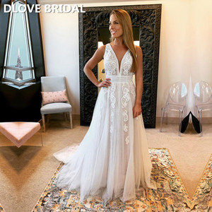 High Quality V Neck Backless Beach Wedding Dress Unique Lace Tulle Long Bridal Gown Open Back Custom Made Dresses
