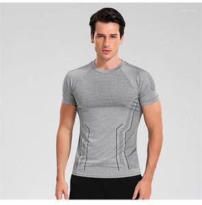 Manga de cuello redondo suéter camisetas aptitud camisetas del diseñador del Mens Sport camisetas del lunar Impreso corto ocasional