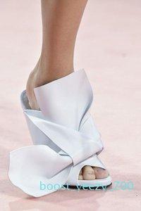 Yellow Green Women High Heel Sandals Big Bowtie Wedding Designer Dress Party Shoes Summer Satin Stilettos Slides Brand Plus Size EU35-42 b70