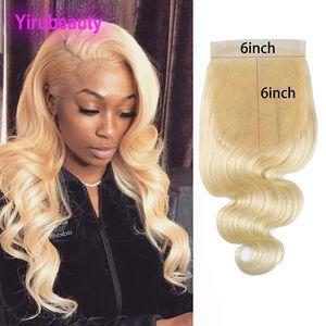 Перуанский человеческих волос 613 # Blonde Body Wave 6X6 Lace Closure с ребенком волос Blonde 6 К 6 продуктов волос Yirubeauty