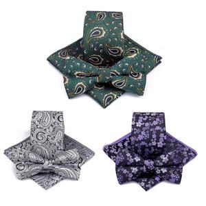 La moda de los hombres de poliéster Jacquard corbata 3 piezas creativo anacardo flor machacado Traje del lazo del bolsillo de la plaza de Bowtie de la bufanda decoración LT-TTA541