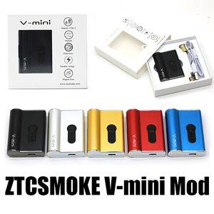 Original ZTCSMOKE V-Mini Boîte Mod 450mAh Batterie Vape Mod Cartouche 0.5 / 1.0ml Tension Magnétique Anneau Magnétique Vape Pen Gratuit DHL