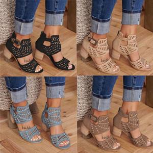 2020 nuevo de las mujeres de la sandalia de cuero de diseño talladas ahuecado grueso de los altos talones Negro estilo occidental boca de los pescados con la caja US4-12