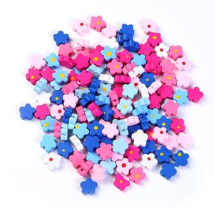200Pcs 7 Colors 15mm Floral Wooden Beads Charms Necklace Bracelet Diy Jewelry Accessories Children's Handmade Beads Wood Beads Wholesale