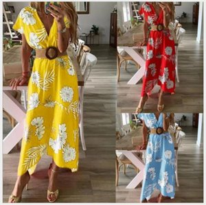 Druck-Strand-Ferien-Frauen-Kleider mit Schärpen Floral V-Ausschnitt Kurzarm lange Kleider Sommer-beiläufige Art und Weise der Frauen-Partei-Kleider