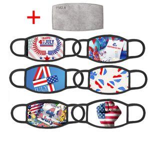 Trump 2020 Elección Suministros de América mascarilla de las máscaras de la manera US Bandera Día de la Independencia de impresión lavable reutilizable con filtro 1 PM2.5