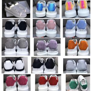 NOVO das mulheres dos homens reflexiva 3M Branco Plataforma Sneakers 100% real Couro Suede Levantado único Low Top Trainers Flat Shoes Casual execução