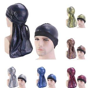 2 PCS raso Unisex Uomini Donne Bandana Chemo Durag Rag Coda Pirate Hat + Bonnet Chemo Cappello Cancer casuale Turbante Accessori di moda