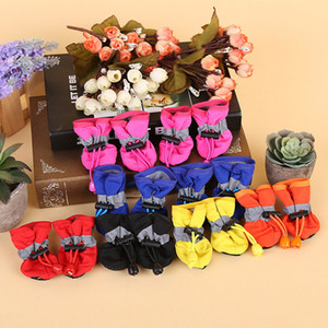 4Pcs set Pet Dog Soft Shoes 7 Size Anti-slip Puppy Waterproof Booties Socks Anti-slip Shoes Small Dogs Cats Thin Boots Socks DH0987 T03