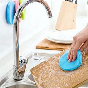 Multi-función Magic Silicone Dish Bowl Cepillos de limpieza Pad Olla Pan Wash Cleaner Accesorios de cocina 7 colores RRA1833