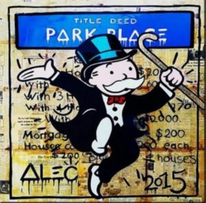 Alec Monopoly Banksy pintura al óleo del arte en la calle 21 Park Place lienzo Decoración Artesanías / H Imprimir pared del arte de la lona representa 190918