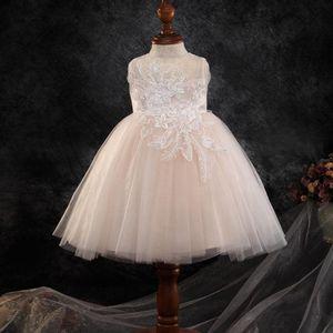 Lace Beaded Flower Girl Dresses Sheer Neck Cheap Little Girl Wedding Dresses Cheap Communion Pageant Dresses Gowns F3204