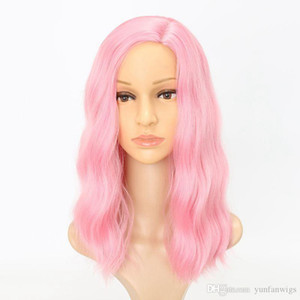 Afo longa onda encaracolado sintético Perucas Lady High Temperature Cor Rosa Milho Beard peruca Mulher preta para Silk