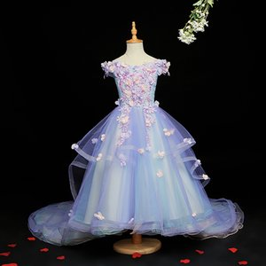 2020 New Floral Lace Flower Girls Dresses For Wedding Cheap Ball Gowns Children Princess Costume For Kids