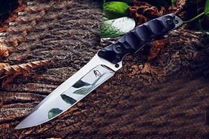 Promotion de survie droite Couteau D2 point de chute Miroir polonais Lame Full Tang Noir poignée fixe G10 Couteaux lame Kydex