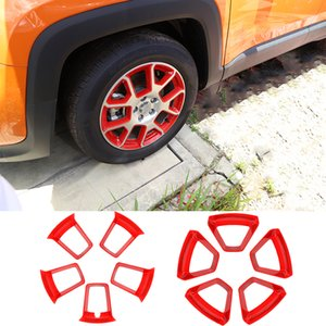 ABS Car Red Wheel Hub Frame Decoration Trim For Jeep Renegade 2019 UP Full Set Exterior Accessories