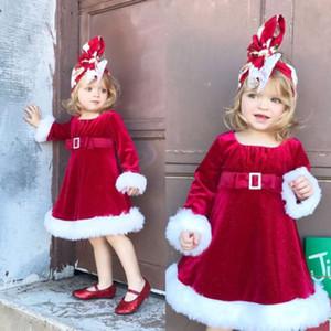 겨울 따뜻한 레드 크리스마스 산타 공주 라운드 넥 긴 소매 벨트 A 라인 드레스 크리스마스 유아 아동 어린이 여자 드레스