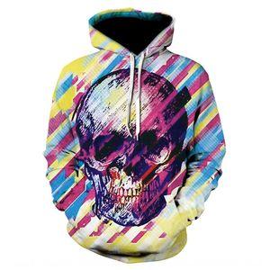 Autumn ink mixed color skull art sweater Digital men's 3D digital printing long sleeve hooded sweater