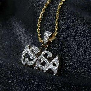 замороженный из ISSA кулон ожерелье мужчины роскошные дизайнерские мужские побрякушки алмазов письмо подвески хип-хоп золотые буквы цепи ожерелье ювелирные изделия любовь подарок
