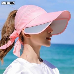 SILOQIN 2019 Nuove Donne di Estate Cappelli Da Sole vuoto Top Hat Sun Visor retrattile Signore Anti-UV Visiera di grandi dimensioni delle Donne Cappelli da Spiaggia