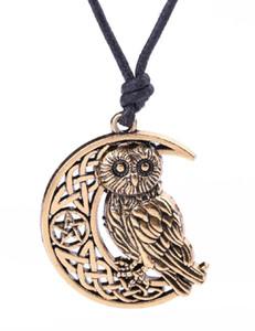 V20 Vintage surnaturel Wicca Moon Star creusé pendentif mignon hibou animal collier irlandais noeud viking amulette bijoux