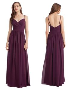 Красота слива шифон ремни V-образным вырезом рябить платье невесты платья невесты вечерние платья невесты пользовательские размер 2-18 D8B004