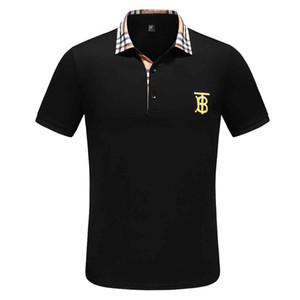 diseñadores camisas de polo de los hombres ocasionales Camisa de polo simple de manera diaria a juego de rayas Manguito clásico doble hebilla Diseño 100% algodón breathabl