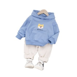 New Spring Autumn Children Clothes Baby Boys Girls Cartoon Hooded T Shirt Pants 2Pcs sets Kids Infant Clothing Toddler Tracksuit
