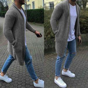 Mens Designer Cardigan Abbigliamento maglione solido di colore per i vestiti Mens caldo lungo Tops Uomini maglione lungo casuale di lusso