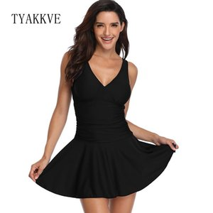 TYAKKVE 2019 Vintage Tankini Swimsuit Dress Plus Size Women Swimwear Beachwear Print Traje de baño Falda Shorts de baño femeninos