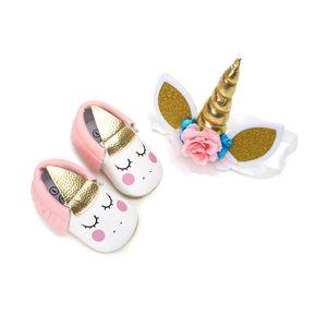 Unicorn bebek kız ayakkabı bebek tasarımcı ayakkabı yenidoğan bebek kız ayakkabı + Unicorn saç bandı 2 adet Moccasins Yumuşak Bebek İlk Walker Ayakkabı A2388