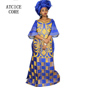 african dresses for women fashion design new african bazin embroidery design dress long dress with scarf two pcs one set A023#