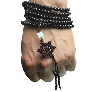 Collana di braccialetto di mala di preghiera di legno di perle di meditazione buddista buddista di legno di sandalo tibetano 216