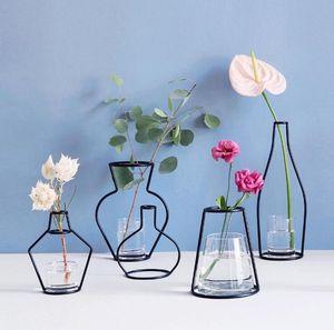 크리 에이 티브 DIY 꽃병 파티 홈 장식 블랙 공장 냄비 홀더 철 와이어 꽃병 무료 배송