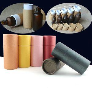 50pcs 10-100ml Botella de aceite Caja de embalaje de perfume de papel Kraft Paquete de tubo Caja de gotero Caja de regalo de cartón redondo para festival