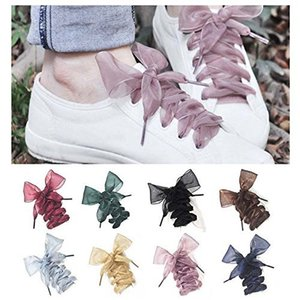 4cm Wide 120cm Length Chiffon Shoelaces Flat Ribbon Shoe Laces For Women Sneaker Sport Shoes Canvas Shoes Small White Shoes