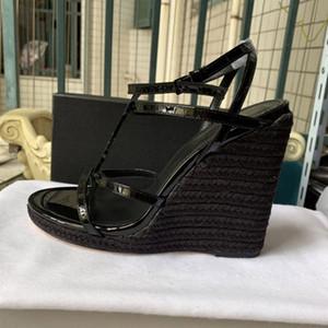 Novo Clássico Europeu Saltos Altos Sandálias, cordas de cânhamo tecidas saltos altos sandálias de moda, sandálias sensuais em Paris supermodelos sapatos de desfile de moda