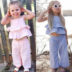 Baby Girls Outfits Children Stripe Sling Vest Top Pants With Headband 3pcs set 2019 Summer Fashion Boutique Kids Clothing Sets C6287
