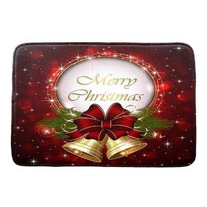 Экологию Золотой рождественские колокола Рождество HD Printed Non-Slip Коврик для ванной Абсорбент Главная Doormat