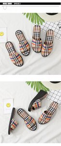 Summer 2019 same Plaid slipper casual fashion word lazy drag fashion women's shoes fashion Amazon