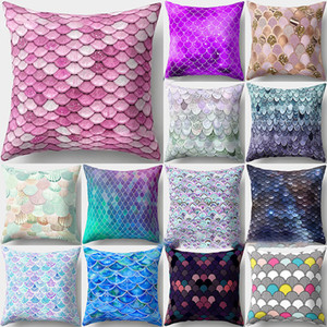Mermaid pesce scala federa Copertura Glamour Piazza Federa Cuscino Divano di casa Car Decor Mermaid Pillow Covers 16 Colore WX9-1241