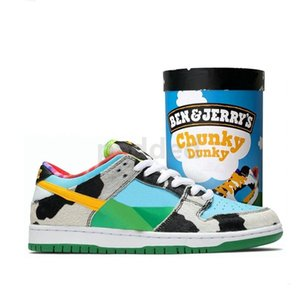 With Ice Cream Box Ben & Jerrys x SB Dunk Low Mens Running Shoes Designer Chunky Dunky Women Outdoor Trainers Size 36-45