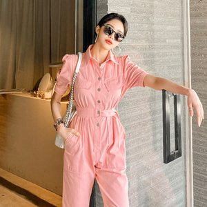 High Quality 2020 Casual Jumpsuits Overalls Rompers Womens Jumpsuit Short Sleeve Summer New Single-breasted Long Pants Female
