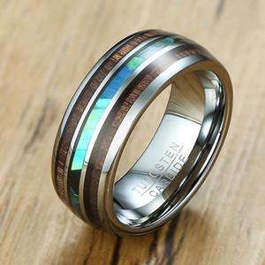 Anillos de carburo de tungsteno para hombres Con incrustaciones de madera Abalone Shell Alianzas de boda 8 mm para los amantes de su joyería